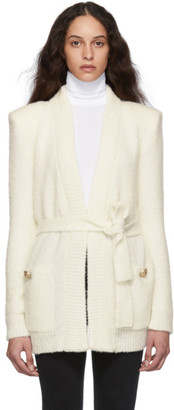 Balmain Off-White Mohair Belted Cardigan