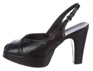 Miu Miu Leather Slingback Sandals