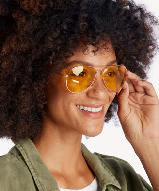 Sole Society Women's Lani Clear Lens Aviator Sunglasses Rose Gold One Size Metal From
