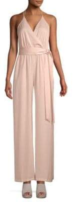 BCBGMAXAZRIA Harrison Faux-Wrap Satin Jumpsuit