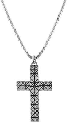 "Steve Madden \""X\"" Textured Design Cross Box Chain Necklace"