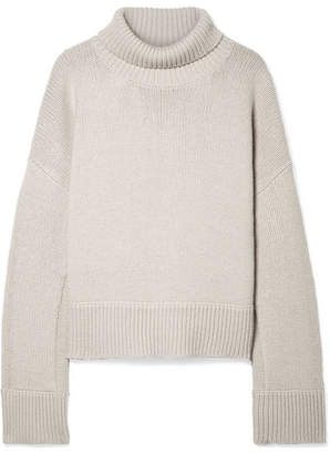 Jaquee Oversized Merino Wool-blend Turtleneck Sweater - Beige