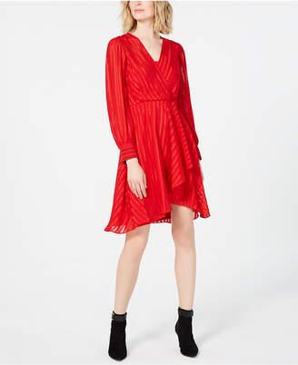 Calvin Klein Illusion-Stripe Wrap Dress