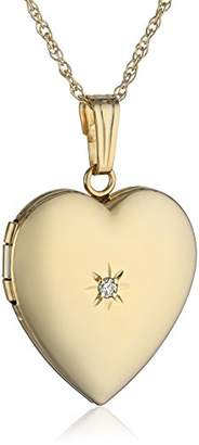 14k White Gold and Diamond Heart-Shaped Locket Necklace