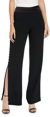 Jonathan Simkhai Crepe Satin Combo Side-Slit Button Pants