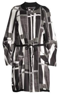 Josie Natori Taisho Stripes Drawstring Cotton Jacket