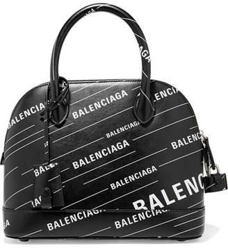 Balenciaga Ville Printed Leather Tote - Black