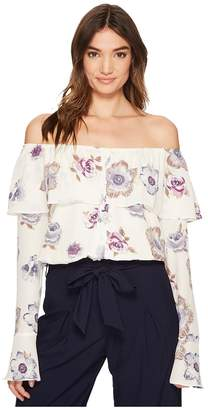 J.o.a. Off the Shoulder Button Up Top Women's Clothing