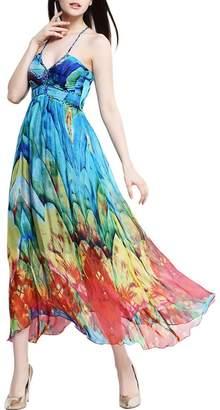 Mulberry CDCLOTH Women's Summer Weave Sling Silk Beach Sundresses Silk Print Dress