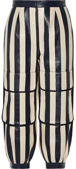 Fendi - Cropped Striped Leather Tapered Pants - Storm blue