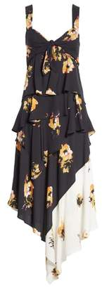 A.L.C. Natalia Floral Print Silk Asymmetrical Midi Dress