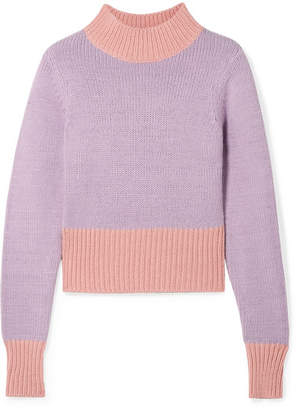 STAUD - Two-tone Knitted Sweater - Lilac