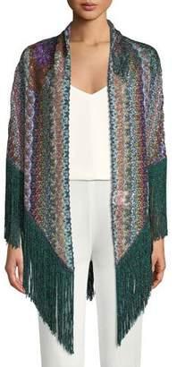 Missoni Flower Knit Shawl w/ Long Fringe