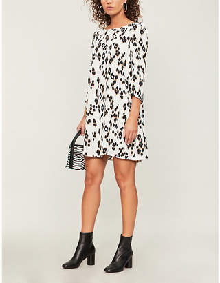 Claudie Pierlot Flared leopard-print crepe mini dress