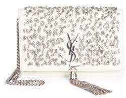 Saint Laurent Kate Crystal Beaded Leather Crossbody Clutch