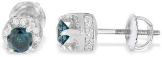 FINE JEWELRY 1 CT. T.W. Multi Color Diamond 14K White Gold 5mm Stud Earrings