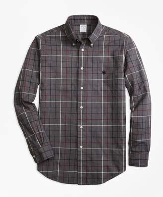 Brooks Brothers Regent Fit Yarn-Dyed Oxford Windowpane Sport Shirt