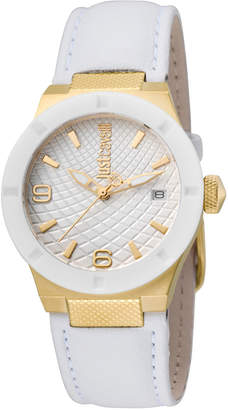 Just Cavalli 34mm Rock Watch w/ Leather Strap, White
