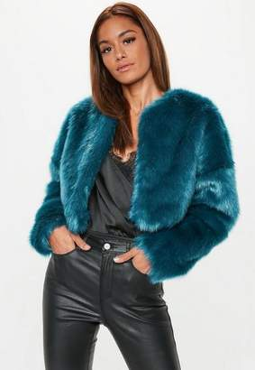 Missguided Teal Collarless Faux Fur Coat