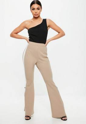 Missguided Nude Colour Block One Shoulder Popper Jumpsuit, Nude