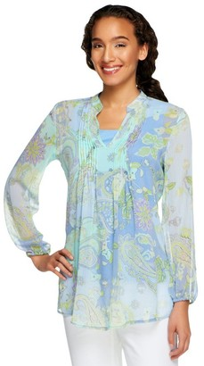 Susan Graver Crinkled Sheer Chiffon Printed Tunic with Knit Tank