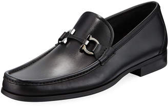 Salvatore Ferragamo Men's Gancini-Bit Leather Moccasin Loafers