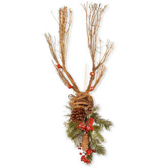 Co NATIONAL TREE National Tree Handcrafted Wood Deer With Pine Cones Animal Figurines