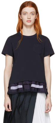Sacai Navy Cotton Jersey T-Shirt