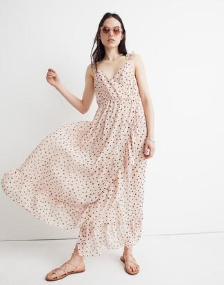 b01b79aae8 Madewell Ruffle-Strap Wrap Dress in Inkspot Dots