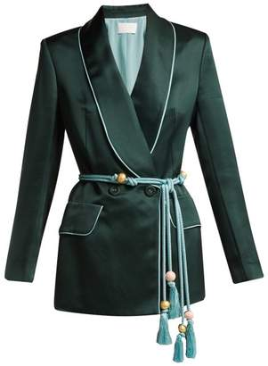 Peter Pilotto Double Breasted Satin Blazer - Womens - Green