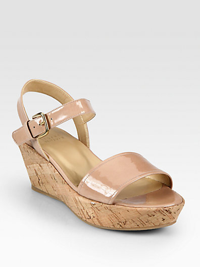 Stuart Weitzman Patent Leather Cork Wedge Sandals