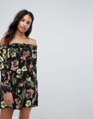 AX Paris Off The Shoulder Long Sleeve Day Dress In Floral Print
