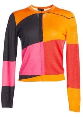 Akris Long Sleeve Cashmere Silk Sunrise Cardigan