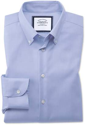 Charles Tyrwhitt Extra Slim Fit Business Casual Non-Iron Sky Blue Check Cotton Dress Shirt Single Cuff Size 15/32