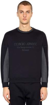 Giorgio Armani Logo Embroidered Cotton Blend Sweatshirt