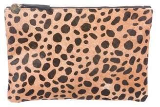 Clare Vivier Leather & Ponyhair Zip Clutch