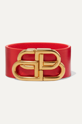 Balenciaga Leather And Gold-tone Bracelet - Red