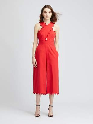 Oscar de la Renta Red Crisscross Stretch-Cotton Poplin Jumpsuit