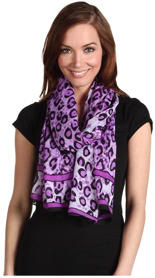 Christin Michaels Exotic Leopard Scarf (Purple) - Accessories