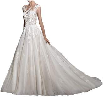 MILANO BRIDE017 New Illusion-Neck Ball Gown Backless Applique Wedding Dresses-US size