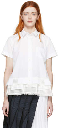 Sacai White Poplin Short Sleeve Shirt