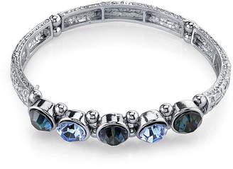 JCPenney 1928 Jewelry Multi-Blue Stone Silver-Tone Stretch Bracelet