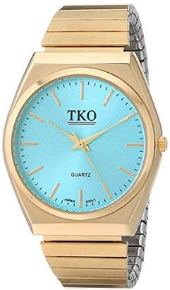TKO Gold Stainless Steel Expansion Bracelet Stretch Thin Case Purple Face Flex Girls Watches TK649TQ