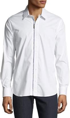 Karl Lagerfeld Paris Men's Zippered Woven Sport Shirt