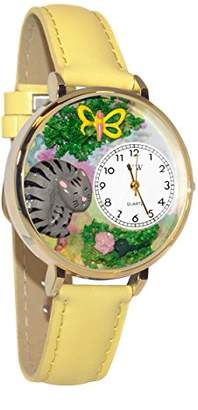 Whimsical Watches Unisex G0120013 Cat Nap Yellow Leather Watch