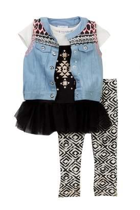 Nicole Miller Denim Vest, Dress, & Capri Set (Little Girls)