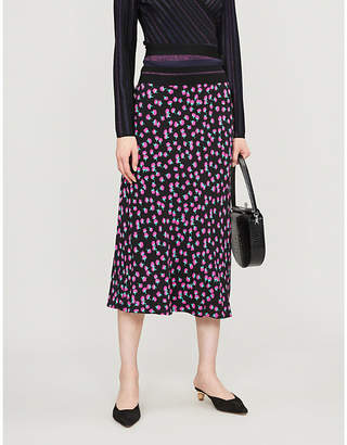 Diane von Furstenberg Swirling Berry-printed high-waisted crepe skirt