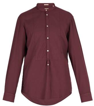 Massimo Alba Band Collar Modal And Cotton Blend Shirt - Mens - Burgundy