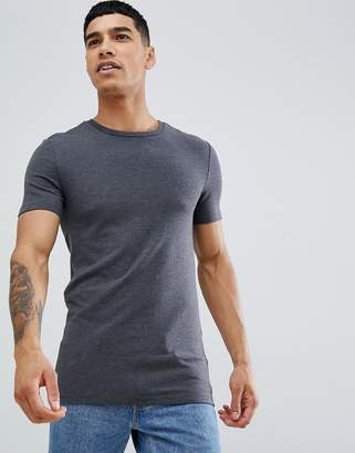 Asos Design DESIGN organic muscle fit t-shirt with crew neck in grey