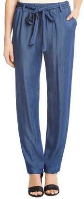 Karen Kane Belted Chambray Straight Pants